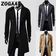 Zogaa 2019 Autumn and Winter New Mens Fashion Boutique Solid Color Business Casual Woolen Designer Men Long Coat