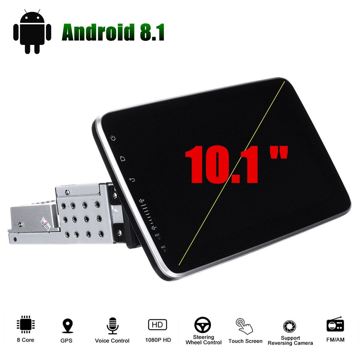 10,1 pulgadas Android 8,1 auto Radio Multimedia Player navegación GPS 1 + 16G Touch pantalla con WiFi coche Radio Estéreo FM 1 Din 360 rotación