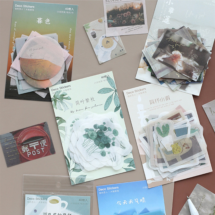 40pcs/pack Sunset View Plants Paper Sticker Decoration Stickers Diy Planner Diary Scrapbooking Label Sticker Kawaii Stationery