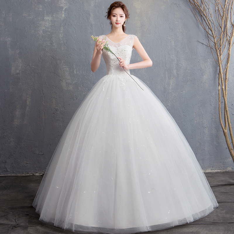 Wedding Dress Ball Gowns New Bride Lace Up Wedding Dresses Embroidery Princess Dream Marriage Dresses