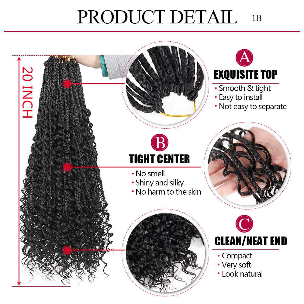 Trenzas de la caja del pelo de la Diosa, pelo sintético de ganchillo rizado, pelo con rizos bohemio, extensión de cabello trenzado bohemio de 20 pulgadas