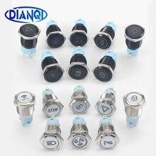16 мм металлическая латунь/оксид черное покрытие кнопочный переключатель лампа фиксация/Мгновенный вентилятор светильник для автомобильно...