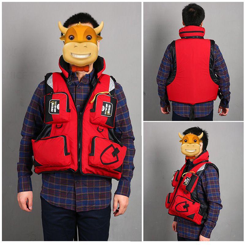 adulto profissional colete salva vidas de pesca de poliester oxford reflexivo colarinho destacavel com capuz jaqueta