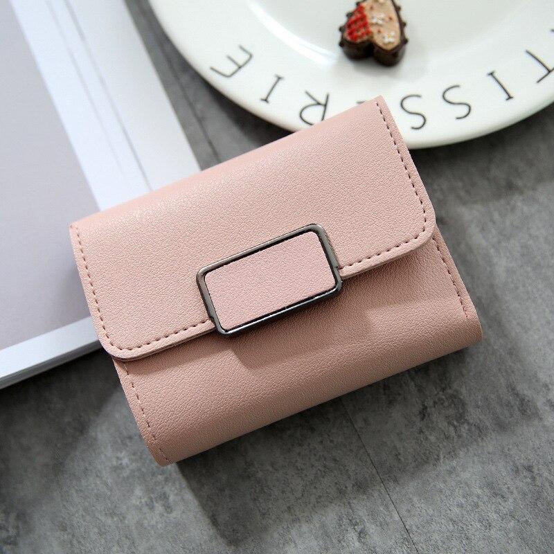Женские кошельки, Маленький модный брендовый кожаный кошелек для женщин, женская сумка для карт, клатч, Женский кошелек, кошелек с зажимом для денег - Цвет: Square-Pink