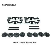Smartable إطارات عجلات القطار + عجلات + مجموعة المحور MOC أجزاء بناء الالعاب العملاقة متوافق مع العلامات التجارية الكبرى قطار المدينة 2871/57999/ 3706