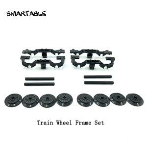 Smartable Train Wheel Frames +Wheels+ Axle Set MOC Parts Building Block Toy Compatible Major Brands City Train 2871/57999/ 3706(China)