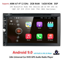"DSP 7 ""Universal Mobil Android 9.0 Radio Pemain Multimedia 4G WIFI GPS Navigasi MirrorLink Rds BT DVR Quad inti 2Din 2GRAM 16GROM(China)"