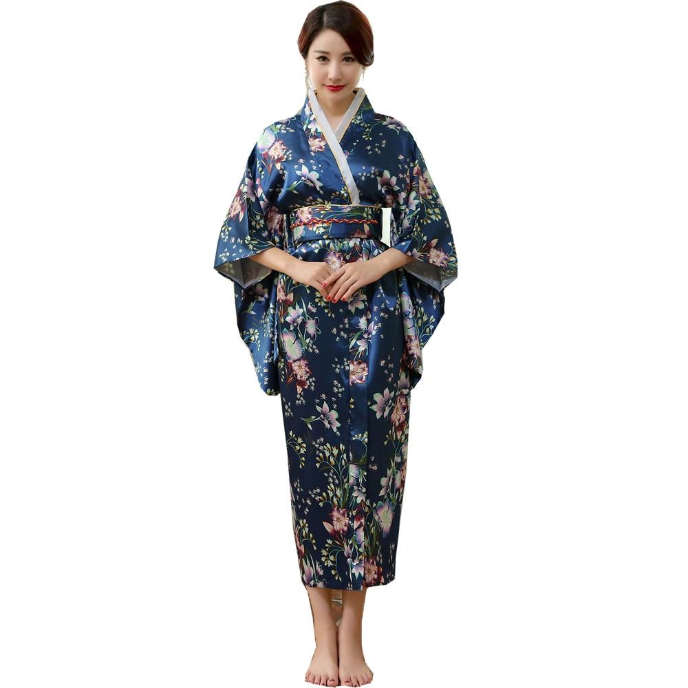Japanese Traditional Women Silk Rayon Kimono Vintage Yukata With Obi Performance Dance Dress Halloween Costume One Size HL02