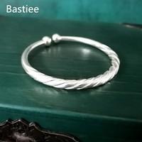 Bastiee 999 Silver Bangle Bracelet Women Hmong Handmade Ethnic Bangles Rotating Vintage Wedding Gift Luxury Jewelry Miao Silver