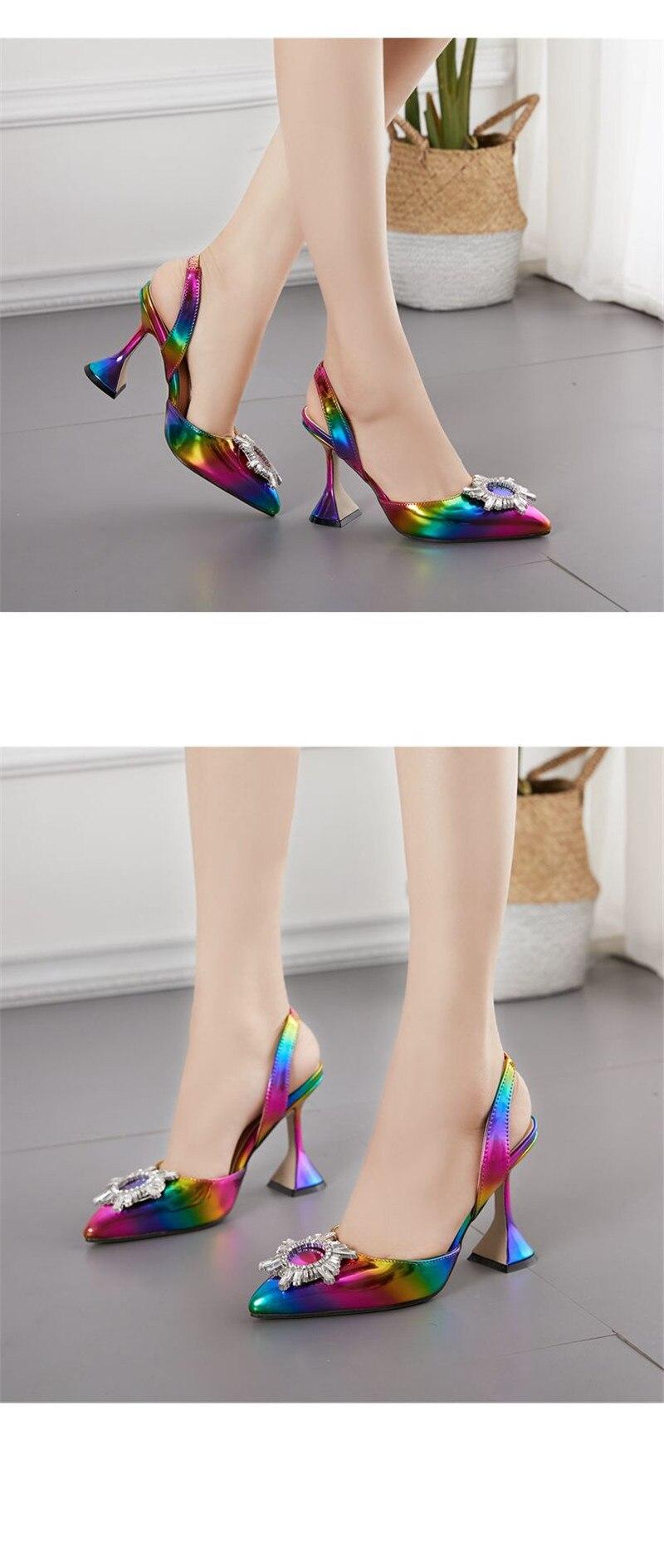 Summer 2020 Sandals Women`s Shoes Colorful High Heel Slingbacks Sun Flower Rhinestone Shallow Mouth Women`s Sandals Plus Size 42 (3)