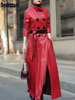 Nerazzurri Maxi skirted leather trench coat for women Luxury womens fall fashion 2020 plus size faux leather coats 4xl 5xl 6xl