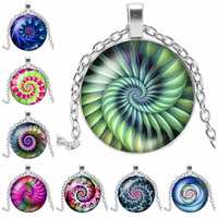 2019 New Charm Color Kaleidoscope Fashion Necklace Glass Cabochon Pendant Necklace Silver Metal Sweater