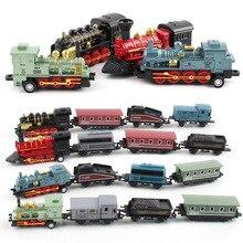 Литье под давлением 1: 60 Игрушечная машина из сплава транспортных средств Ретро паровой поезд Carrinho De Brinquedo оттягивающаяся назад модель поезд детские игрушки набор для мальчиков Подарки