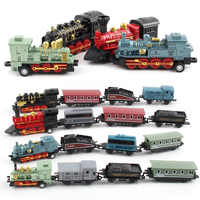 Diecast 1: 60 legierung Spielzeug Auto Fahrzeuge Retro Dampf Zug Carrinho De Brinquedo Pull Zurück Modell Zug kinder Spielzeug Set Für Jungen geschenke