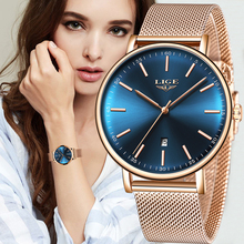 LIGE النساء ساعة رجالي ساعات العلامة التجارية الفاخرة Zegarek Damski ساعة النساء ساعة الرجال Montre فام Montre أوم Reloj Hombre + صندوق