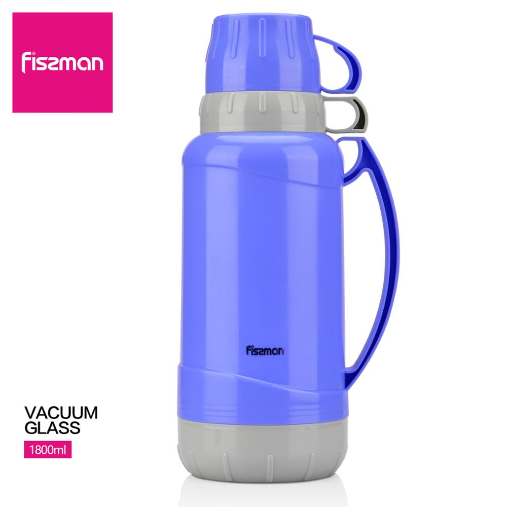 Fissman 1800ml Vacuum Glass Liner Bottle With Double Cups Design Royal Blue Thermal Flask Kitchen Accessories