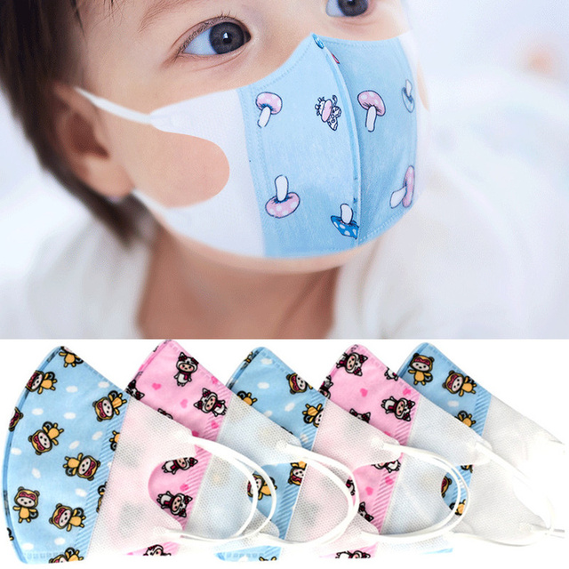 0-3 Years Old Baby Face Mask Washable Cotton Cloth Kids Face Mask Cute Pink Blue Mouth Masks Health Elastic Face Maskes 24h Ship