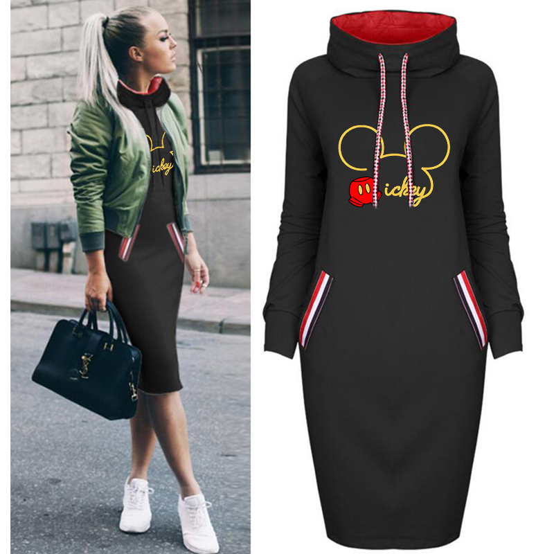 2020 Spring Fall Dress Women Printing Plus Size Bodycon Dresses Vintage Long Sleeve Mickey Woman Party Casual Black Dress