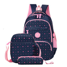 New 3pcs Printing School Bags Girls Teenager Schoolbag Fashion School Backpacks For Children Kids Travel Bag Backpacks Mochila cheap macwave Oxford zipper AL629 Geometric 30cm unisex 20cm Polyester 43cm 0 65kg
