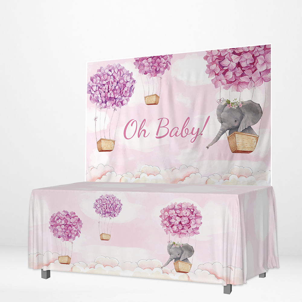 Christening Pink Elephant Tablecover Party Decoration Girls