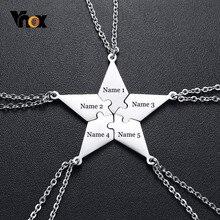 Vnox-Colgante personalizado tipo puzzle para mejores amigos y hermanos, collar de regalo BFF, 5 unidades por set