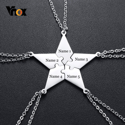 Vnox Personalized 5 PCS/Set BFF Puzzle Pendant Necklace for Best Friends Sisters Brothers Custom BFF Necklaces Gifts