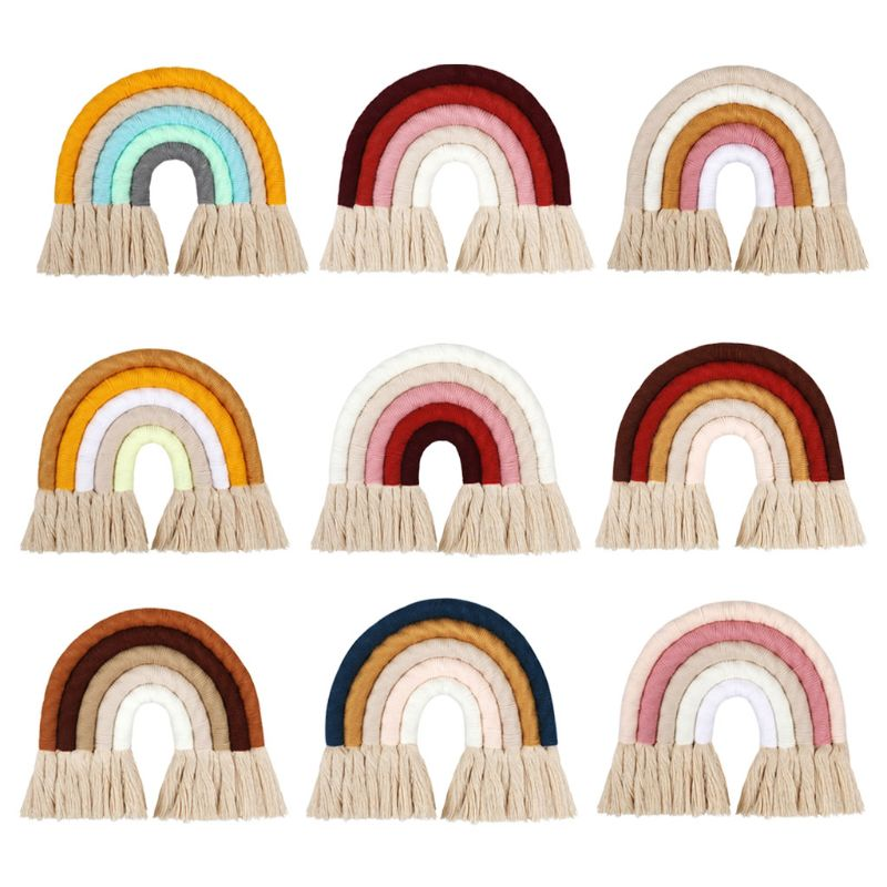 5 Layers Macrame Rainbow Wall Decor Colorful Tapestry Woven Tassel Wall Hanging Toy for Nursery Decor Baby Kids Girls Room Decor