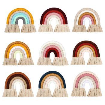 Macrame Rainbow dekoracje ścienne do sypialni przedszkole dla dzieci pokoje dla dzieci kolorowe gobeliny tkane Tassel ściany wiszące zabawki tanie i dobre opinie OOTDTY Pp bawełna 11 cm-30 cm Zwierzęta i Natura 8 ~ 13 Lat Urodzenia ~ 24 Miesięcy 14 lat 2-4 lat 5-7 lat Dorośli
