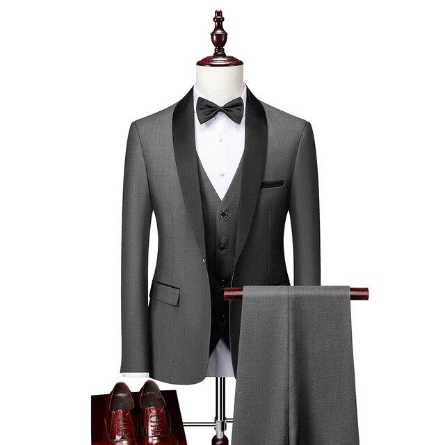 Men Skinny 3 Pieces Set Formal Slim Fit Tuxedo Prom Suit / Male Groom Wedding Blazers High Quality Dress Jacket Coat Pants Vest 6