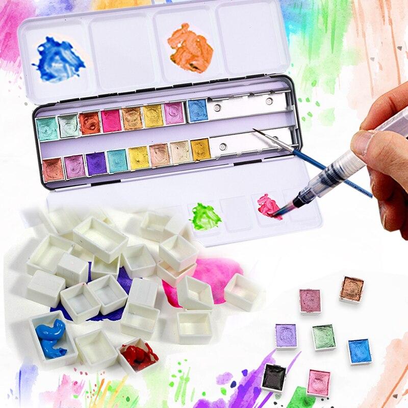 Empty Watercolor Pigment Storage Subpackage Box Paint Grid 14/24/48pcs Full/Half Pan/Grid/Block/Case/Box Empty Iron Box Supplies