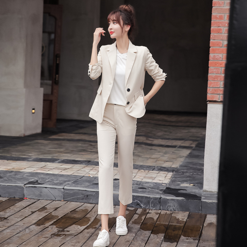 2019 Autumn Fashion Women's Suit Pants Set Temperament Slim Long Sleeve Jacket Small Blazer Female Office Suit Two-piece