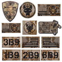 IR Infrared Reflective Desert Camo Sand Patches Shield Seal Military Tactical Patch US American Flags Embroidered Armband Badges