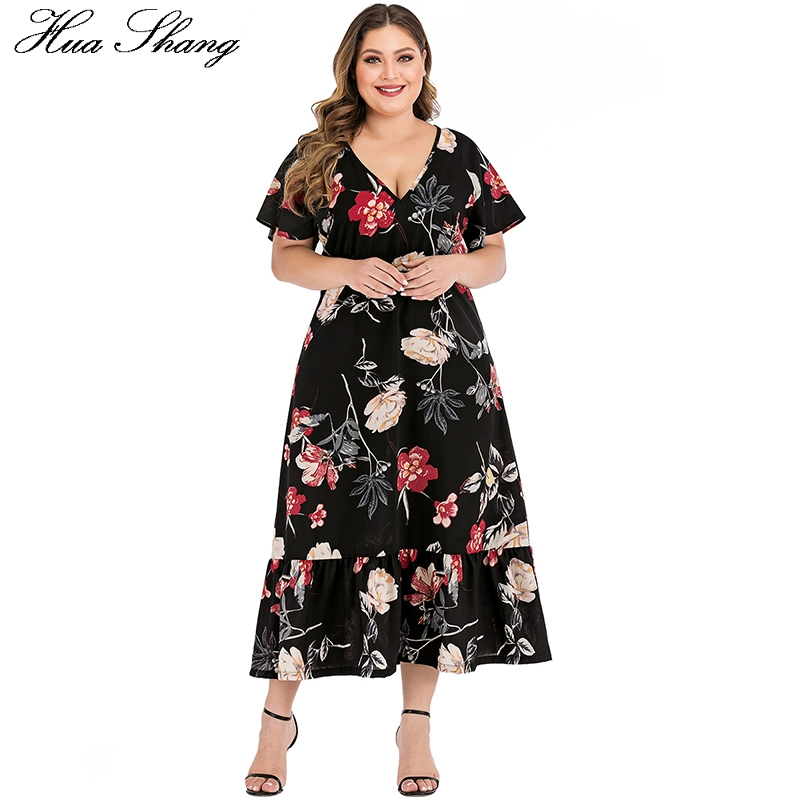 US $17.99 40% OFF|Floral Print Boho Beach Dress Plus Size Women Summer V  Neck Short Sleeve High Waist Maxi Long Dress Black Ladies Tunic Dresses on  ...
