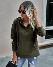 Женский свитшот на пуговицах Повседневный пуловер с капюшоном