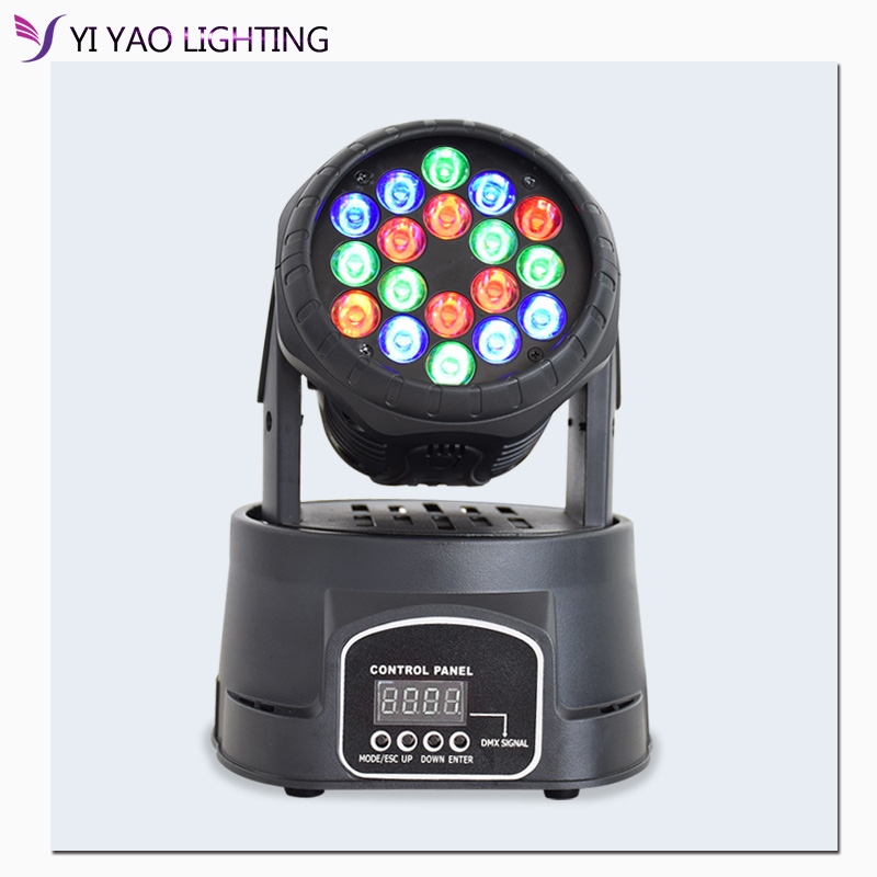 18x3W Mini Moving Head Light Led RGB Wash Moving Head Light For Dj Party Club Stage Lighting