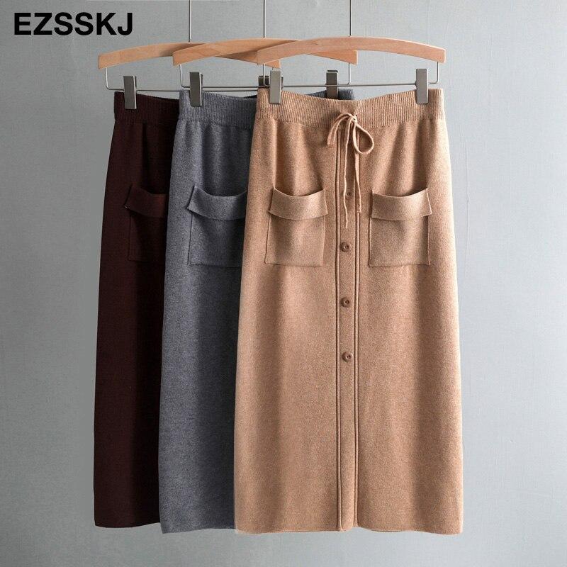 Autumn Winter Women Knitted Bodycon Skirt Female Long Step Skirt Button Skirt Ladies Slim Sweater Skirt Split Back With Pockets