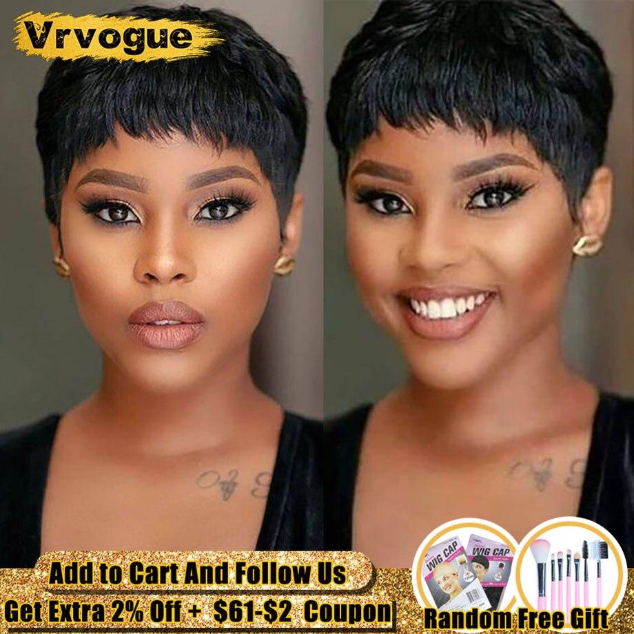 Vrvogue Pixie Cut Wig Natural Curls Short Wigs Peruvian Wig Natural Color 130% Density Human Hair Wigs For Black Women