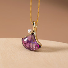 LATS 925 Sterling Silver Gold-plated Natural Amethyst Pendant Necklace Ginkgo Leaf Peal Necklace for Women 2020 Fine Jewelry kjjeaxcmy fine jewelry 925 sterling silver plated white gold ring pendant deep amethyst necklace set ladies two piece suit