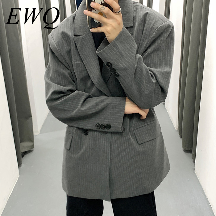 EWQ / Men's Wear 2020 Spring Vintage New Stripe Casual Oversize Suit For Male Loose Coat Fashion Trend Handsome Blazers 9Y978