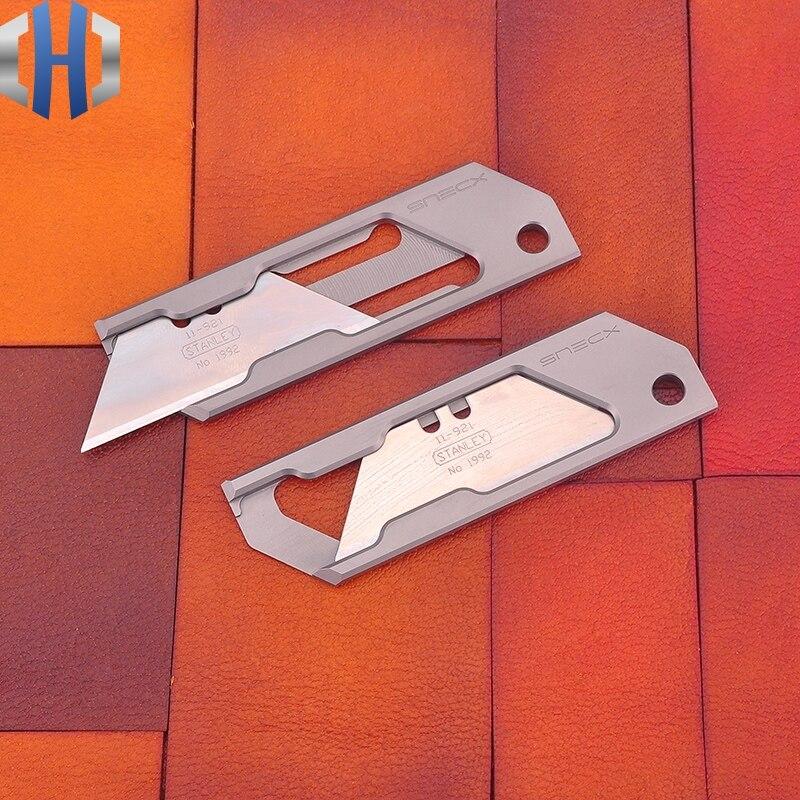 Tools : TC4 Titanium Simple Geometric Paper Knife Utility Knife Pocket Mini Express Unpacking Knife EDC