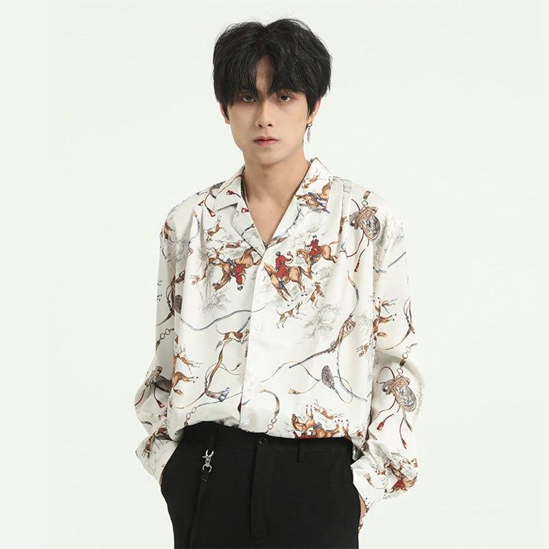 Men Vintage Character Print Long Sleeve Casual Shirts Male Japan Korea Style Streetwear Hip Hop Loose Shirt