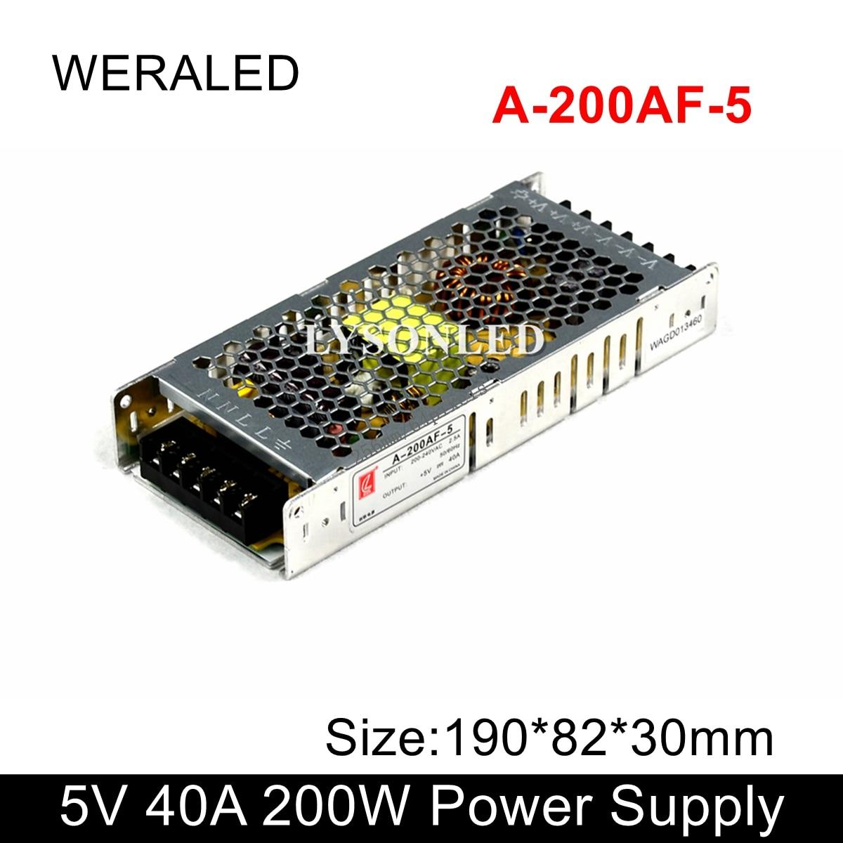 A-200AF-5 Chuanglian 5V 40A 200W Power Supply 110V 230V Input PSU For LED Display