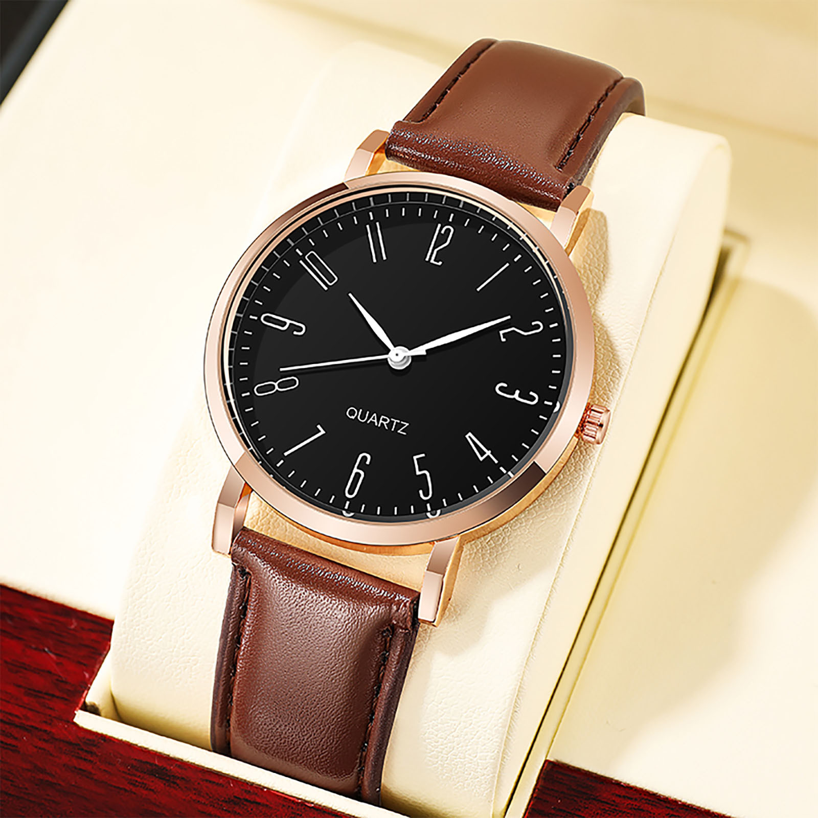 Casual Business Man Watches Round Alloy Dial Quartz Watch Faux Leather Band Quartz Analog Business Wrist Watch For Men#3