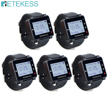 5pcs Retekess T128 Waiter Call Watch Receiver 433.92MHz For Wireless Calling System Restaurant Equipment Customer Service customer service paging call calling system for pub bars 1pc numeric monitor and 5 call bells