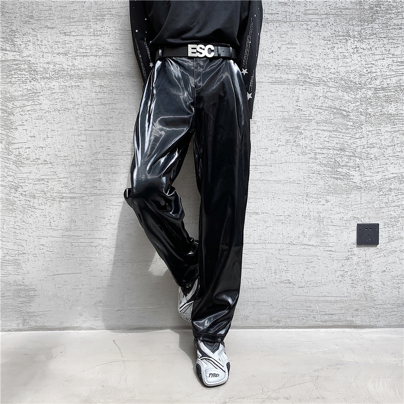 Male Vintage Streetwear Hip Hop Gothic Stage Fashion Show Trousers Men Bright Leather Casual Straight Pant