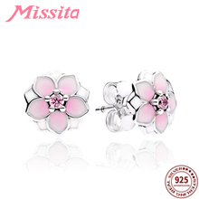 купить MISSITA 100% 925 Sterling Silver Magnolia Pink Flower Earrings For Women Silver Jewelry Brand Wedding Stud Earrings HOT Sale дешево