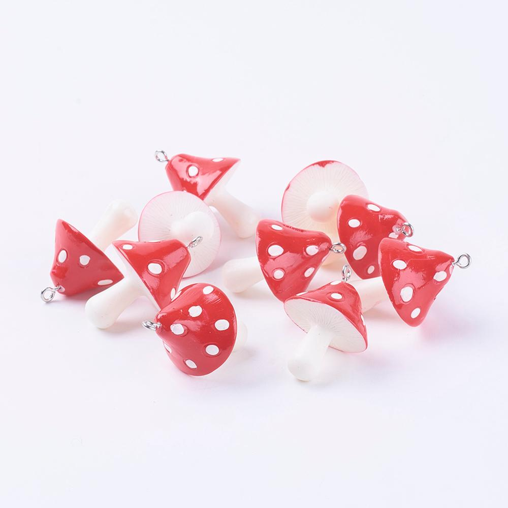 10pcs Resin Mushroom Pendants Earring Charms for Necklace Bracelet Jewelry Making 34~36x22~26x22~26mm, Hole: 2mm