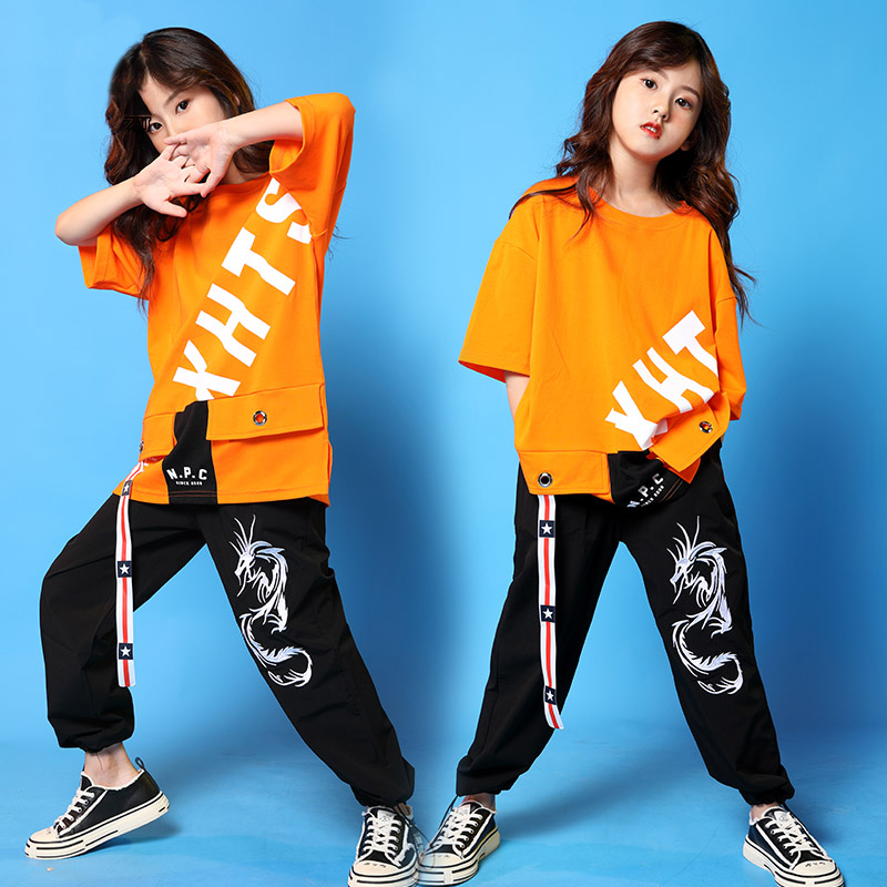 Orange Dance Costumes Girls Hiphop Street Dance Rave Outfit  Jazz Performance Clothing Kids Dancing Practice Wear 2 Pcs DF1658
