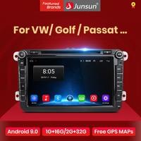 Junsun-Radio Multimedia con GPS para coche, Radio con reproductor DVD, 2 Din, Android, navegador, estéreo, para Volkswagen, VW, Golf, Passat, Skoda, Seat, Polo, Sedan