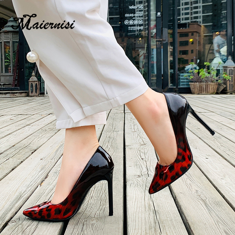 MAIERNISI High-Heeled Shoes Fashion Pumps Ultra-High Plus-Size Mixed-Color Nightclubs